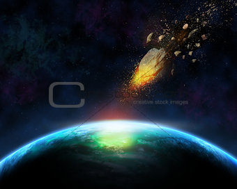 3D space background with meteorite
