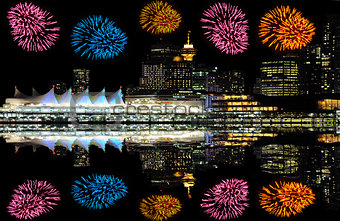 Fireworks above the center of Vancouver.