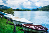 Lugano Lake, boats at rest on the grass