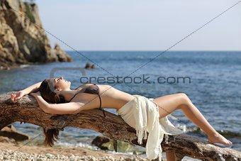 Sunbather beautiful woman sunbathing on the beach