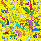 colored cats pattern