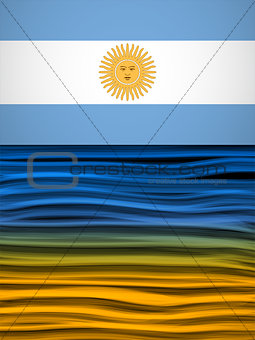 Argentina Flag Wave Yellow White Blue Background