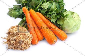 Carrots, celery and kohlrabi
