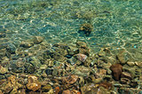 Beautiful azure red sea seabed with rocks in Egypt