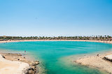 Tropical lagoon in Egypt with turquoise water and blue sky