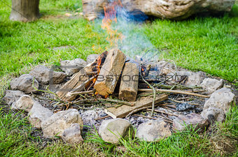 Firewood burning in fire with smoke surrounded by stones