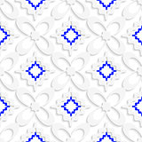 Diagonal white and blue wavy squares and flowers pattern