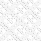 Diagonal white wavy squares and flowers pattern