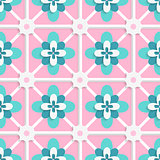 Floristic green and pink tile ornament
