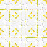 Perforated squares with yellow flowers pattern