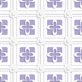 Purple squares and white flowers pattern