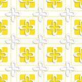 Yellow squares and white flowers pattern