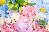 bright luxury wedding bouquet closeup, flowers background