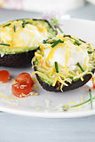 Eggs Baked in Avocado with Cheese
