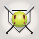 Softball, Bat, and Homeplate Emblem Illustration