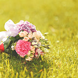 Wedding bouquet in sunlight.