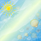 blue summer background with suns and shells