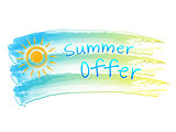 summer offer and sun on drawing flag