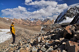 Hiker in Pamir mountains