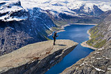 Hiker on Trolltunga in Norway