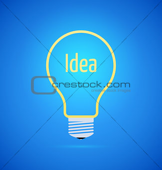 Abstract yellow bulb icon on blue background, idea concept