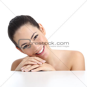 Beauty woman with perfect skin manicure and white smile