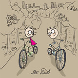 Loving couple man and woman on bicycles