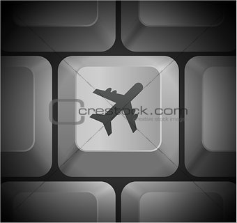 Airplane Icon on Computer Keyboard