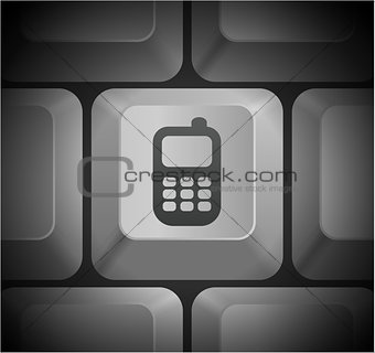 Cell Phone Icon on Computer Keyboard