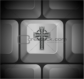 Cross Icon on Computer Keyboard