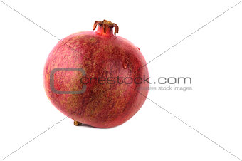 Alone red pomegranate isolated on a white background
