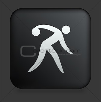 Bowling Icon on Square Black Internet Button