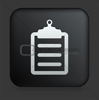 Clipboard Icon on Square Black Internet Button
