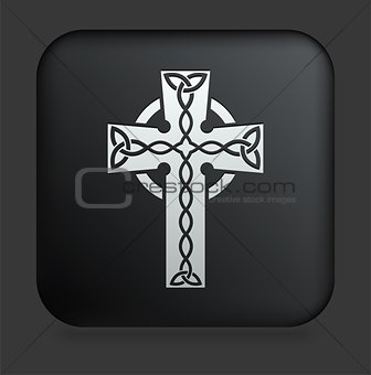 Cross Icon on Square Black Internet Button