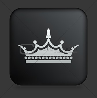 Crown Icon on Square Black Internet Button