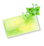 Eco friendly card with green leaves and ladybugs
