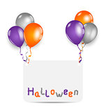 Halloween card with set colorful balloons