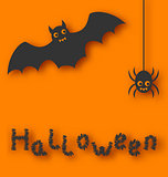 Cartoon bat and spider on orange background