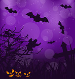 Halloween ominous background with pumpkins, bats, ghost