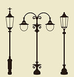 Set of vintage various forged lampposts