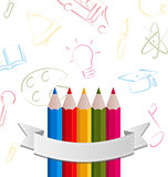 Colorful pencils with ribbon, on pictogram  background