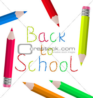 Back to school message with pencils on white background