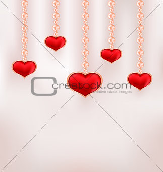Background for Valentine Day with red hearts and pearl
