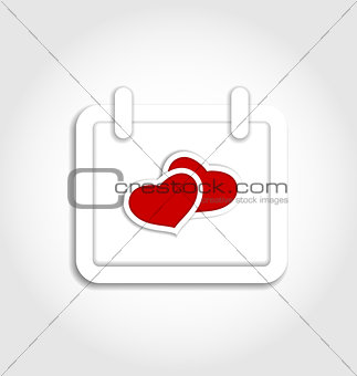 Calendar icon for Valentines day with hearts