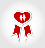Award ribbon with human icons for Valentines day
