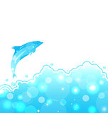 Abstract water card with dolphin