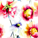 Watercolor illustration of colorful flowers