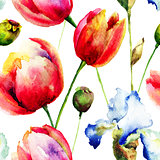 Seamless pattern with Iris and Tulips flowers