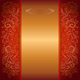 red royal template of invitation card with lace pattern
