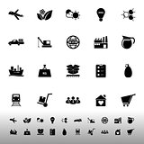 Supply chain and logistic icons on white background